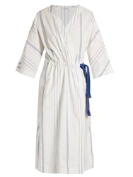 Loewe V Neck Striped Midi Dress Blue White