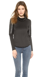 Generation Love Bonded Faux Leather Top Black
