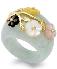 Macy's 14K Gold Over Sterling Silver Ring Jade 60 Ct. T.W. And Multicolored Mother Of Pearl 8Mm Flower Ring