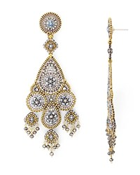 Miguel Ases Beaded Chandelier Drop Earrings Silver