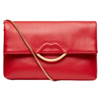 Lulu Guinness Half Covered Lip Issy Grainy Leather Cross Body Bag Red
