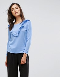 B.Young Ruffle Front Top Chambray Blue