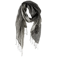 Poetry Double Linen Scarf Monochrome