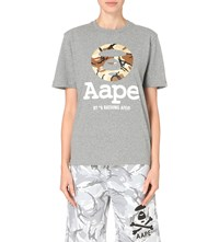Aape By A Bathing Ape Camo Logo T Shirt Grey