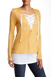 Cullen Double Layer Lace Up Linen Tunic Yellow