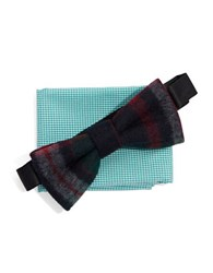 Original Penguin Wool Bow Tie And Pocket Square Set Green