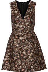 Alice Olivia Pacey Metallic Brocade Mini Dress Gold