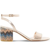 Dune Marble Chevron Embellished Leather Sandals Rose Gold Leather
