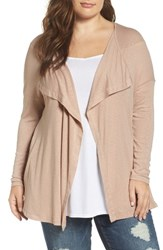 Three Dots Plus Size Women's Luz Drape Front Cardigan Soft Camel
