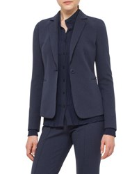 Akris Punto Waffle Knit Jersey Blazer Denim Black Denim Black
