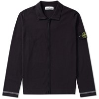 Stone Island Raw Cotton Zip Jacket Blue