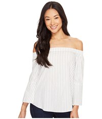 Calvin Klein Jeans Printed Stripe Off Shoulder Top Marshmallow Women's Clothing Blue