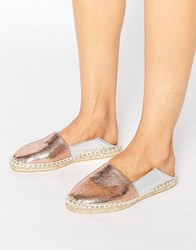 Asos Jax Slip On Espadrilles Met Mix Silver