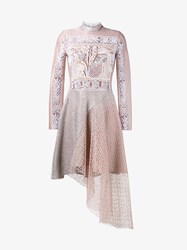 Peter Pilotto Embroidered Lace Dress Pink White Yellow Brown Berry Red Snow