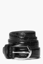 Boohoo Mock Croc Skinny Belt Black