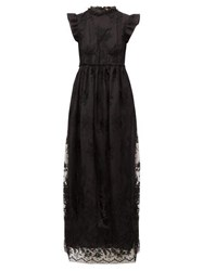 Brock Collection Patricia Ruffled Guipure Lace Dress Black