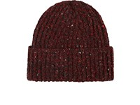 Inis Meain Men's Donegal Effect Wool Cashmere Fisherman's Cap Red