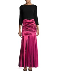 Theia Ruched Skirt Jewel Embellished Gown Blk Magent