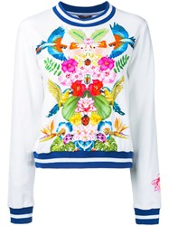 Manish Arora Tropical Print Sweatshirt Women Cotton Spandex Elastane 36 White