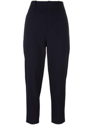 Vince Cropped Leg Trousers Blue