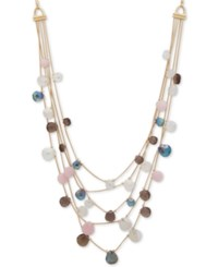 Anne Klein Gold Tone Multi Stone Adjustable Layered Necklace