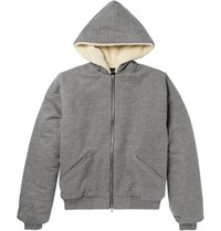 Fear Of God Faux Shearling Lined Cotton Blend Jersey Zip Up Hoodie Gray