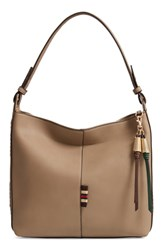 Sondra Roberts Faux Leather Hobo Beige Taupe