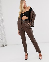 Neon Rose High Waisted Trousers In Faux Leather With Belt Brown