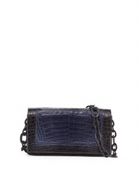 Nancy Gonzalez Medium Colorblock Crocodile Shoulder Bag Dark Blue