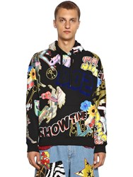 Moschino Printed And Flocked Cotton Sweater W Hood Black