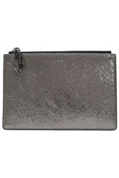 Iro Abotti Metallic Cracked Leather Pouch Gunmetal