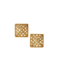 Pyramid Diamond Stud Earrings 18K Yellow Gold Anita Ko
