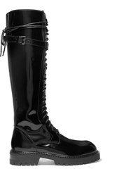 Ann Demeulemeester Lace Up Glossed Leather Knee Boots Black