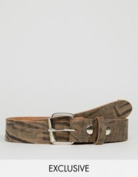 Reclaimed Vintage Distressed Leather Roller Buckle Belt Brown Brown