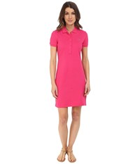 Lacoste Short Sleeve Pique Polo Dress Bright Berry Pink Women's Dress