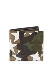 Valentino Camustars Canvas And Leather Wallet Green Multi