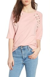 South Parade Julie Zigzag Eyelets Terry Top Pink