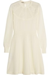 Miu Miu Pointelle Knit Wool Mini Dress Cream