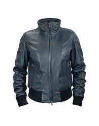 Forzieri Women's Blue Leather Motorcycle Jacket