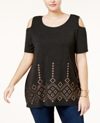 Belldini Plus Size Cold Shoulder Studded Tunic Heather Charcoal Gold