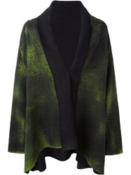 Avant Toi Collar Contrast Smoky Print Draped Cardigan Green