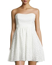 Plenty By Tracy Reese Strapless Flower Embroidered Dress White