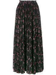 Valentino Love Blades Pleated Maxi Skirt Black