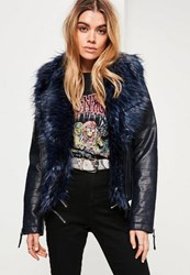 Missguided Navy Faux Fur Collar Faux Leather Jacket
