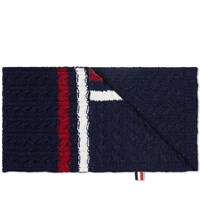 Thom Browne Tricolour Insert Donegal Scarf Navy