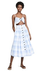 Fame And Partners Button Front Top Skirt Set Medium Blue