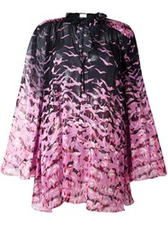 Giamba Sheer Flamingo Print Blouse Pink Purple