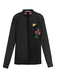 Christopher Kane Floral Embroidered Sheer Chiffon Shirt
