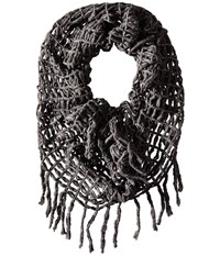 Steve Madden Lurex Rag A Muffin Infinity Charcoal Scarves Gray