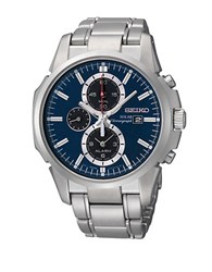 Seiko Mens Silvertone Solar Chronograph Watch